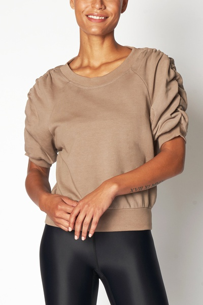RUCHED SWEAT TEE